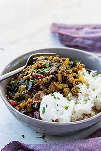 Healthy, comforting black garlic chilli con carne