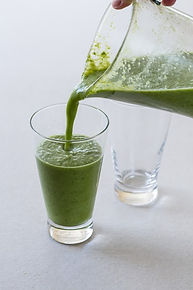 healthy green smoothie with black garlic