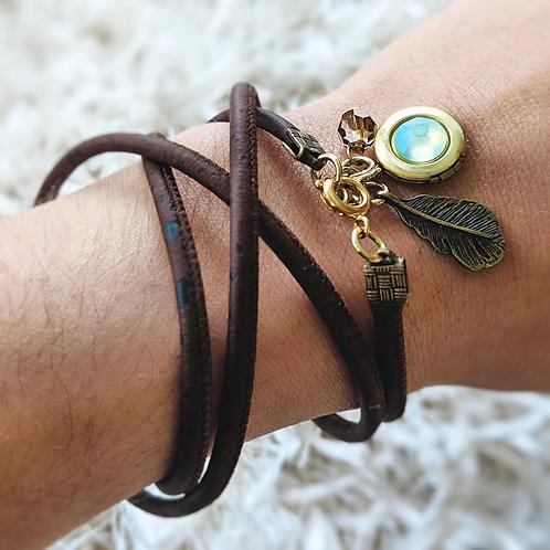 One Thing Locket: Mermaid Scale Locket & Cork Wrap Bracelet/Necklace