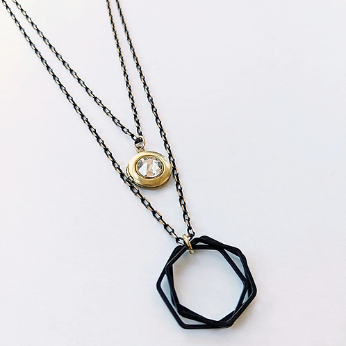 One Thing Locket: City of Glass Black Brass Locket Wrap Necklace
