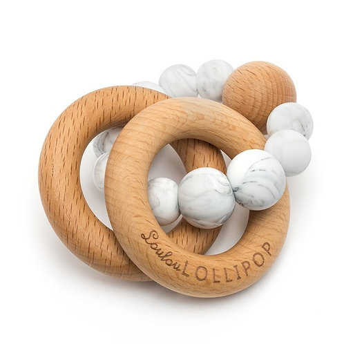 Loulou Lollipop: Bubble Silicone and Wood Teether - Marble