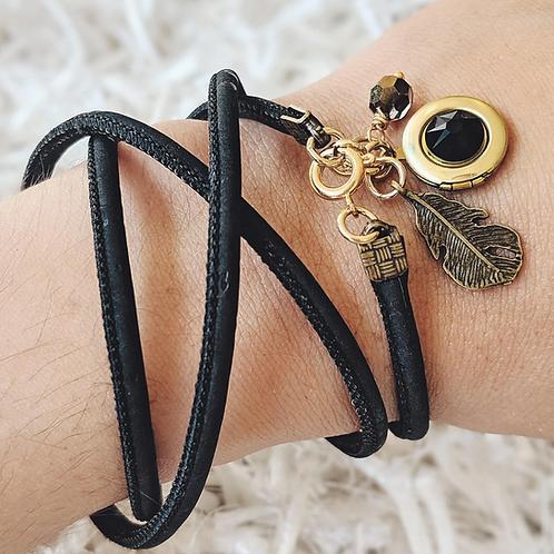 One Thing Locket: Raven Heart Locket & Cork Wrap Bracelet/Necklace (Vegan)