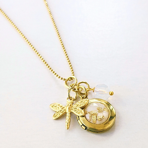 One Thing Locket: Dragonfly Charm & White Gold Flakes Locket Necklace