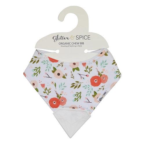 Glitter & Spice: Organic Chew Bib - Poppies