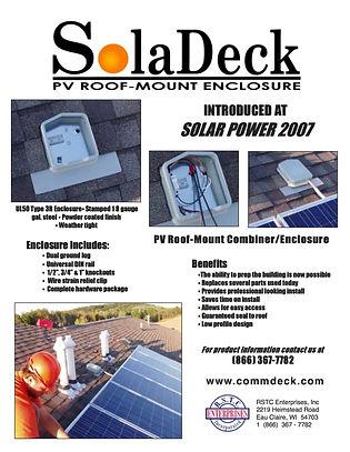 SolaDeck Roof Mount Combiner spec sheet.