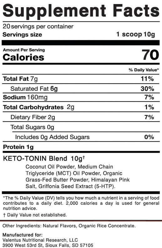 Prevail Keto Creamer Nutritional Facts