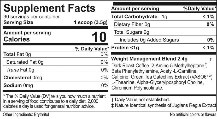 SlimRoast Supplement Facts