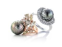 18K金鑲嵌鑽石及大溪地華真珠戒指