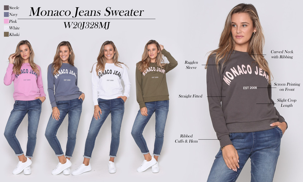 monaco jeans sweater gpink, steele, navy