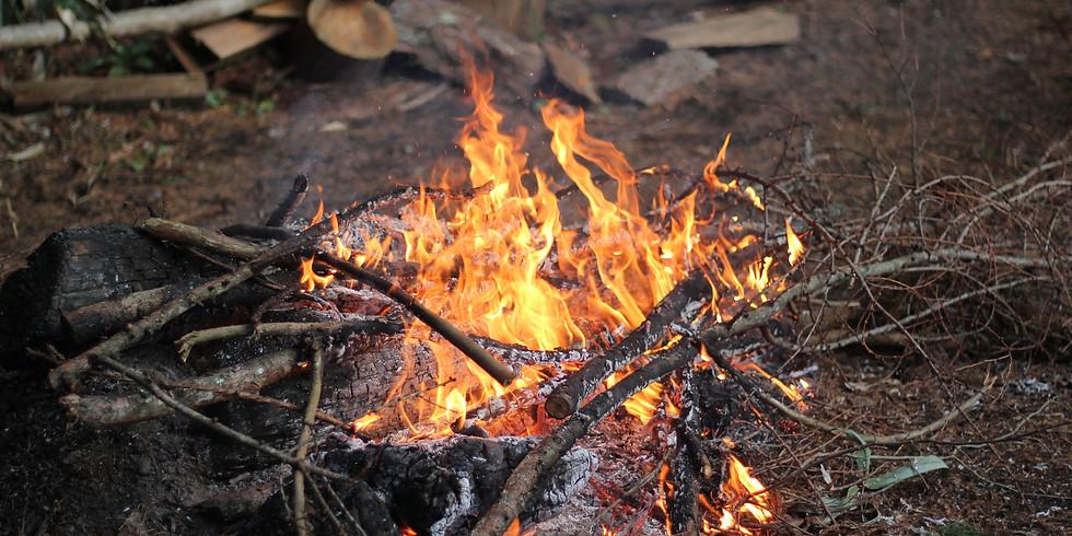 山で焚き火ご飯