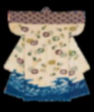 09-2JPEG 室町9号 松皮菱団扇波文様小袖 寸法タテ138.8xヨコ121