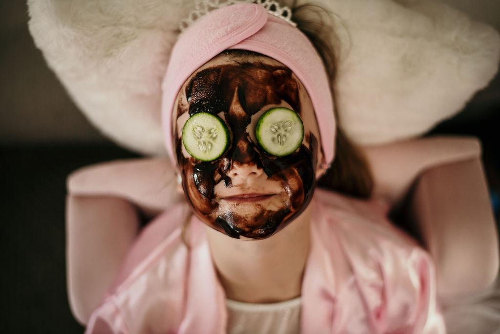 Edible chocolate mask and cucumber eye