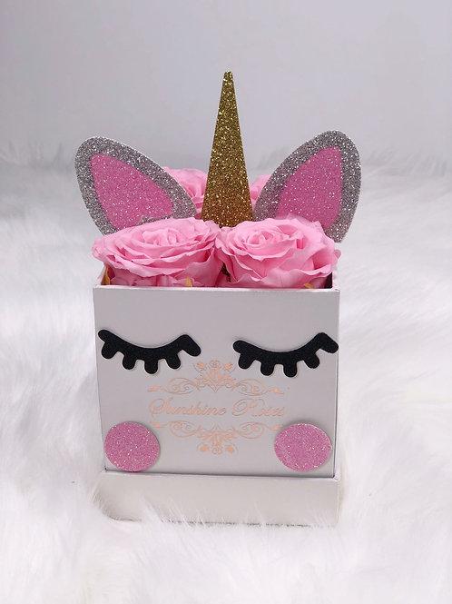 Unicorn Small Square 4 Roses Paper Box