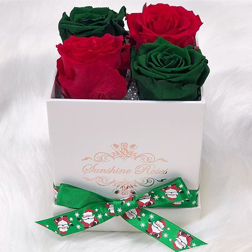 Small Square 4 Roses Paper Christmas Box