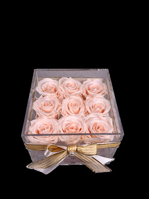 Medium Acrylic 9 White Peach Roses
