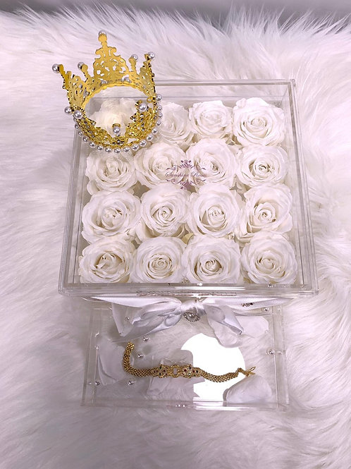 Large Acrylic 16 White Roses - No Crown