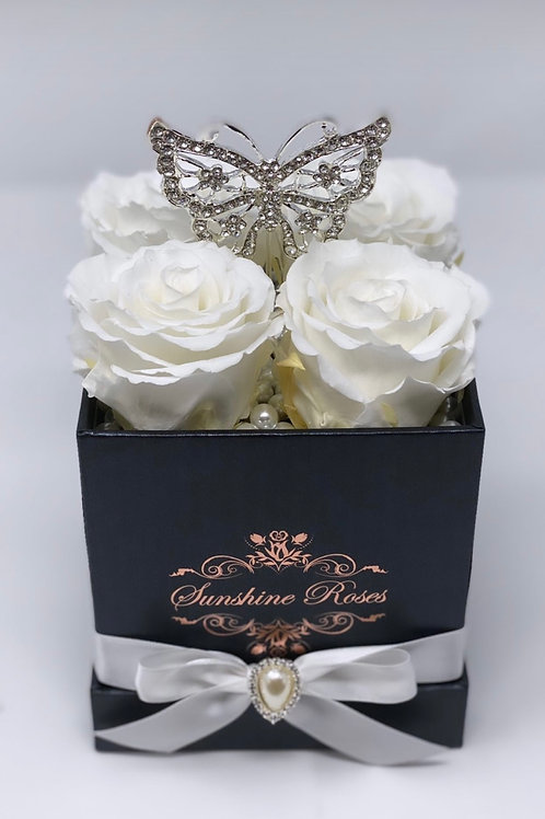 Butterfly Small Square 4 Roses Paper Box