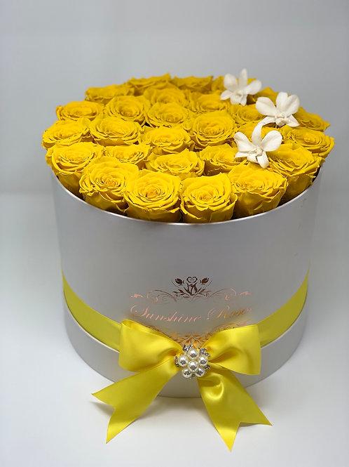 Medium Round Rose and Orchids Box