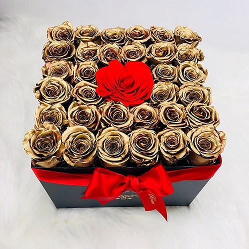 Large Square Gold XL Roses and Red Heart Rose Box