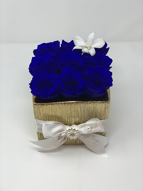 Small Golden Square 9 Roses Box