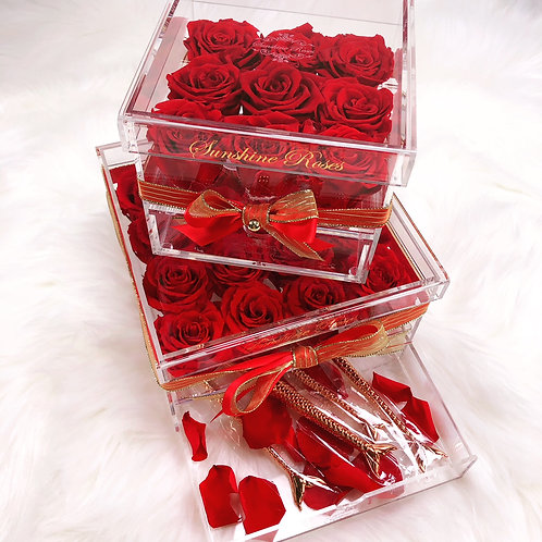 Large Acrylic 16 Red Roses