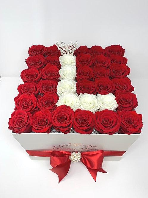 Large Square Rose Box - Initial