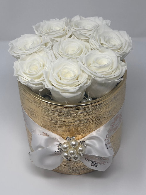 Golden Round Ceramic Box