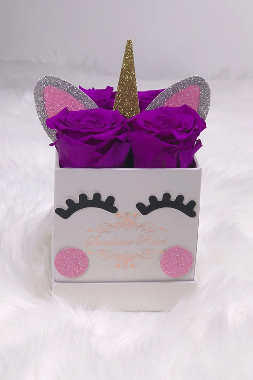 Unicorn Small Square 4 Roses Paper Box
