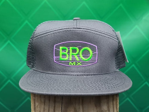 Charcoal Flat Bill Trucker Hat with Green & Purple Logo