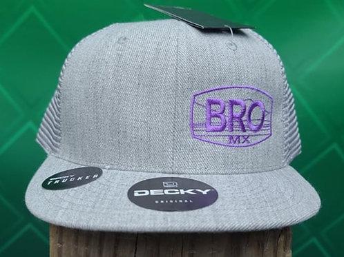 Grey Flat Bill Trucker Hat with Purple Logo