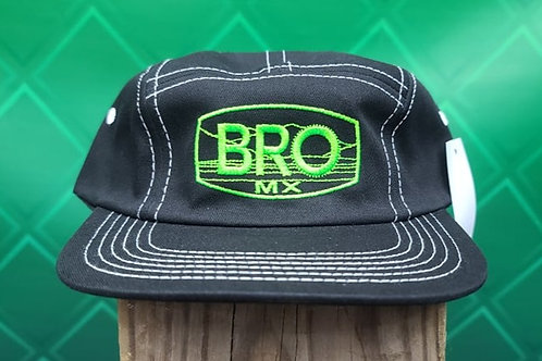 Black 5 Panel Racer Hat with Green Logo