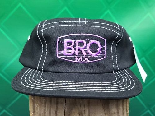 Black 5 Panel Racer Hat with Purple Logo