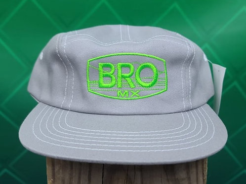 Grey 5 Panel Racer Hat with Green Logo