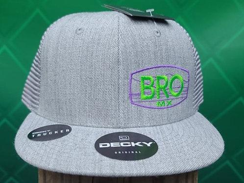 Grey Flat Bill Trucker Hat with Green & Purple Logo
