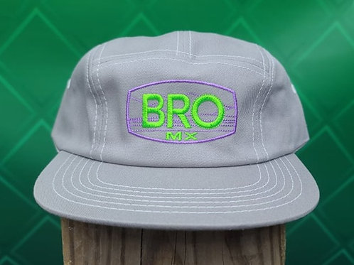 Grey 5 Panel Racer Hat with Green & Purple Logo