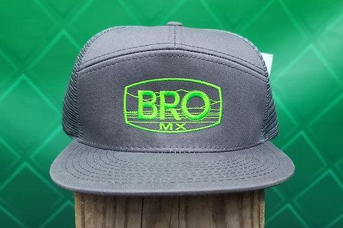 Charcoal Flat Bill Trucker Hat with Green Logo