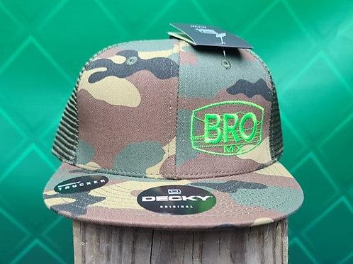 Camo Flat Bill Trucker Hat with Green Logo