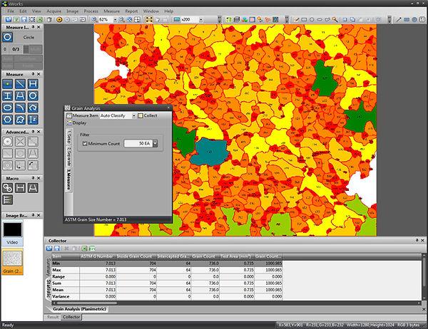 Versatile Metallographic Analysis Software for Grain Size, Cast Iron, Non Metallic Inclusions, Phase Analysis.