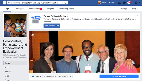 Collaborative, Participatory, and Empowerment Evaluation Facebook Community