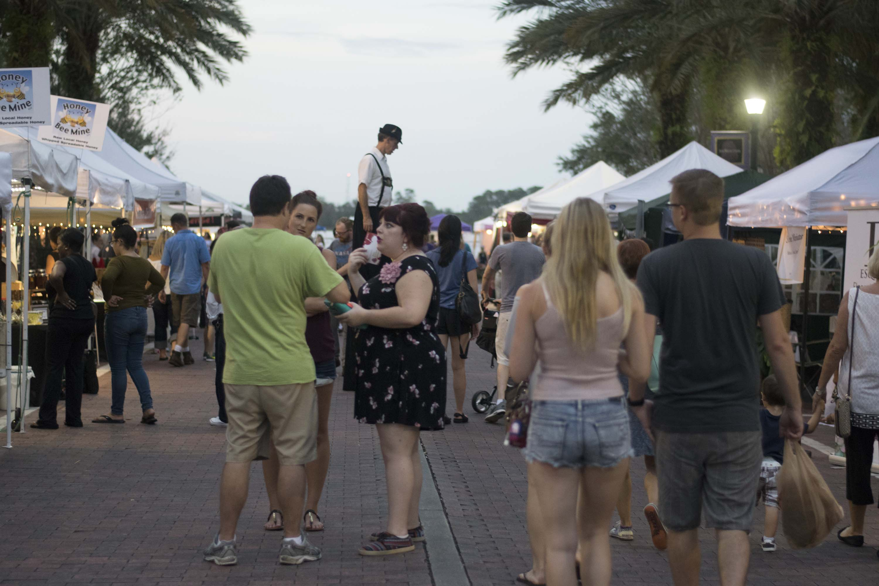 People walking in the event