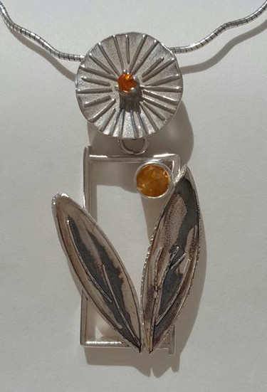 Leaf with citrine and sapphire