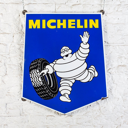 AN ICONIC MICHELIN SHIELD SHAPED ENAMEL SIGN