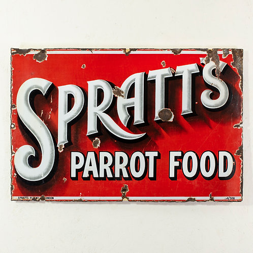 SPRATT'S PARROT FOOD - UNUSUAL ENAMEL SIGN