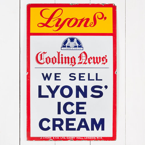 A JOVIAL LYONS' ICE CREAM ENAMEL SIGN