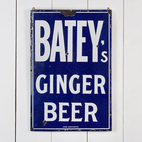 LOVELY, EARLY BATEY'S GINGER BEER ENAMEL SIGN