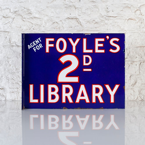 FOYLE'S 2D LIBRARY - ENAMEL FLANGE SIGN