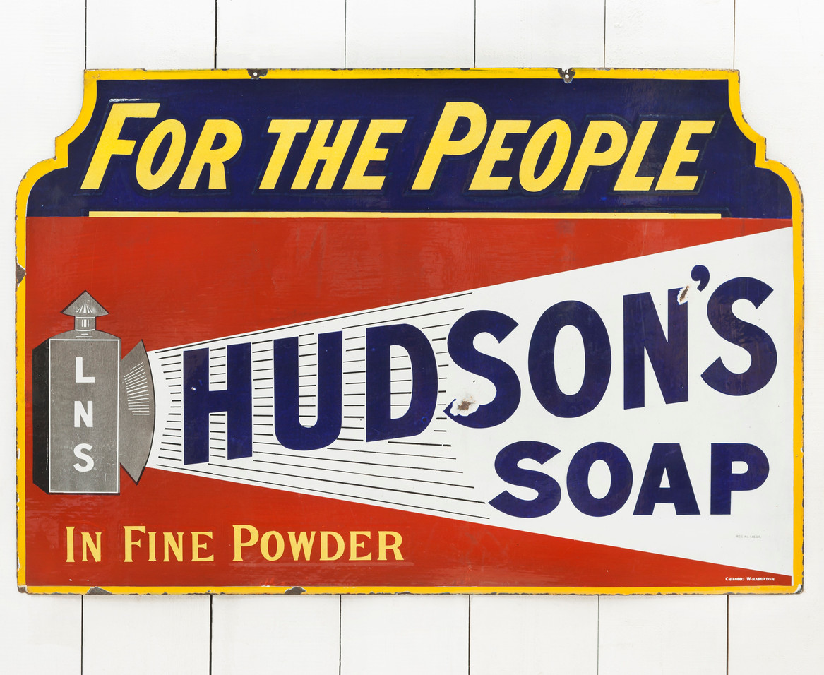 LARGE HUDSON'S SOAP ENAMEL SIGN