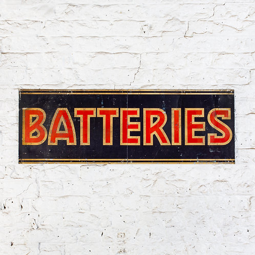 CHARMING, EARLY BATTERIES TIN SIGN