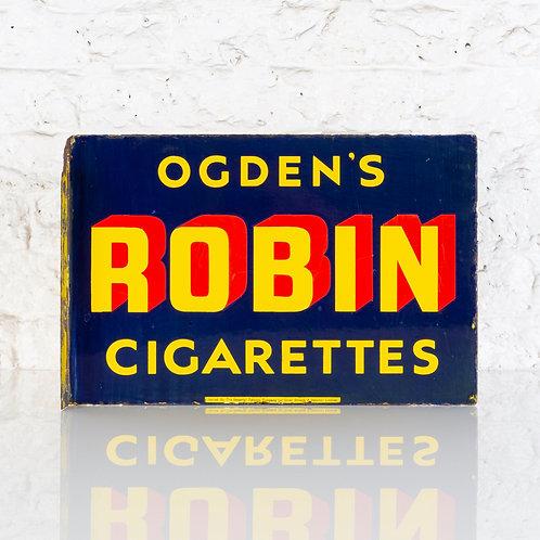 OGDEN'S ROBIN CIGARETTES ENAMEL FLANGE SIGN