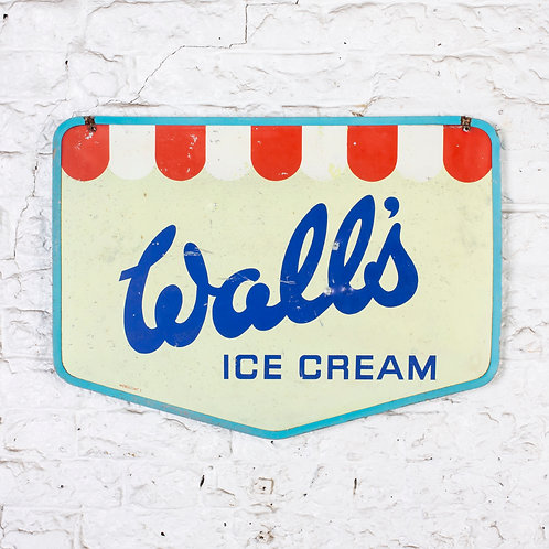 CHARMING, WALL'S ICE CREAM DOUBLE-SIDED TIN SIGN